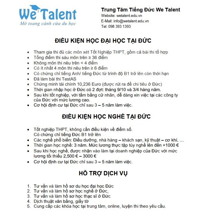 Lộ trình du học Đức tại We Talent Education
