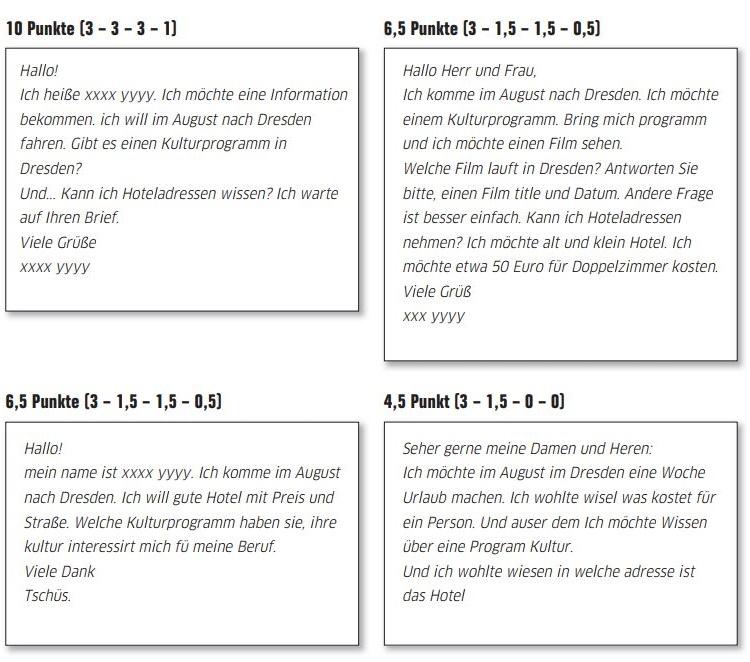 bài giải Đề viết số 1 (Goethe Zertifikat A1)