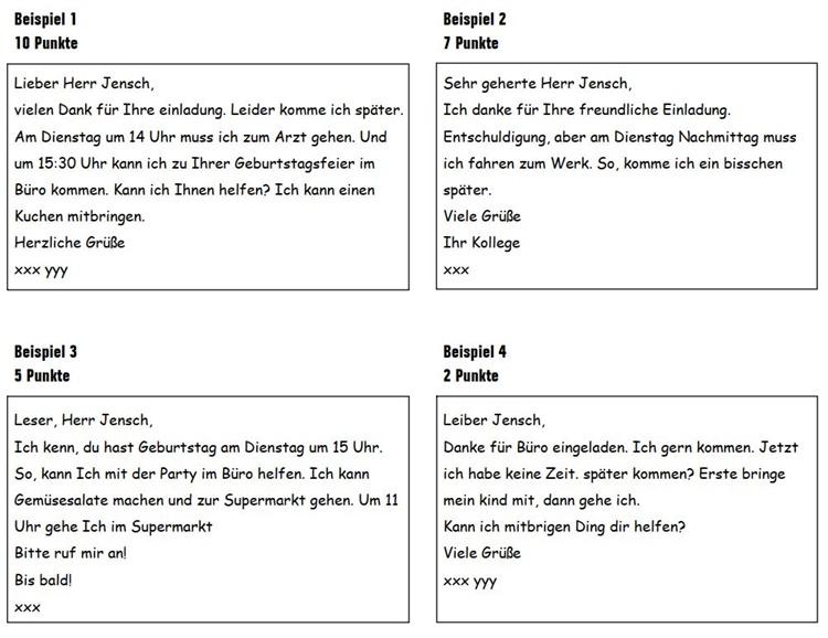bài giải Đề viết số 3 (Goethe Zertifikat A1)