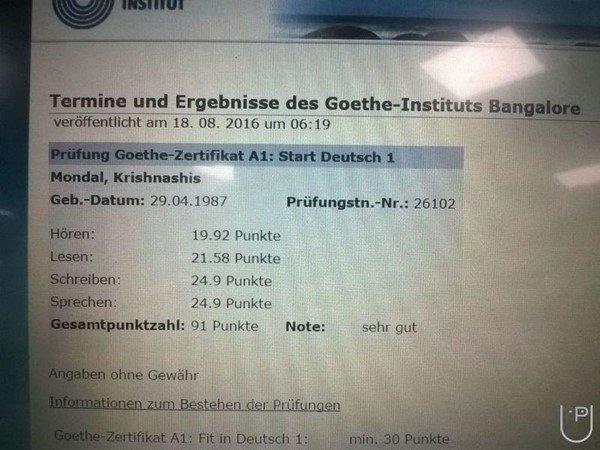 Kết quả thi ở Goethe có thể tra trên mạng