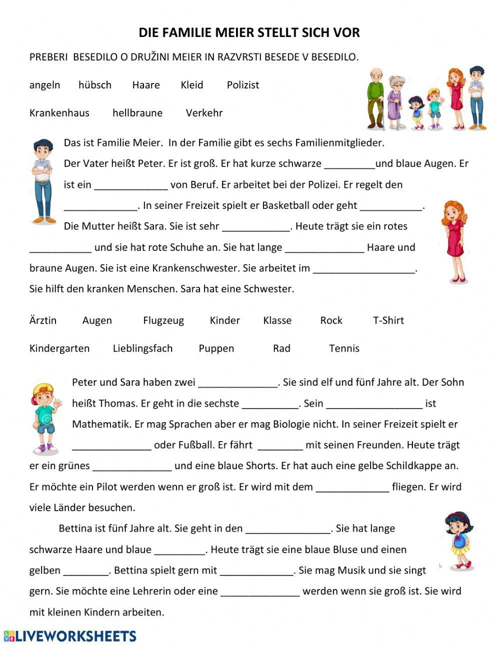 bài tập từ vựng tiếng Đức chủ đề gia đình